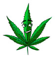 marijuana leaf hemp cute funny cartoon vector image