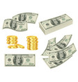 money dollars cash gold prize banknotes roll vector image