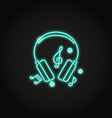 Music headphones icon in glowing neon style