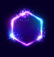 neon hexagon frame pink violet color on dark blue vector image