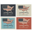postage stamps with map of usa in colors of flag vector image vector image