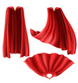 red superhero cape mantle with golden pin vector image vector image