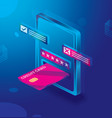 safe e-payments on smartphone isometric concept vector image vector image