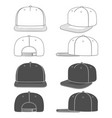 set black and white a snapback vector image vector image