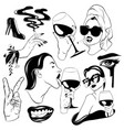 set hand drawn women vector image vector image