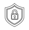 shield with safe padlock isolated icon vector image