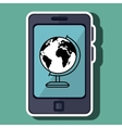 smartphone and world map isolated icon design vector image vector image