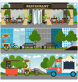 street food and drink establishment interior vector image vector image