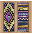 Unique Abstract Ethnic Pattern Card Set On Wood vector image vector image