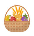 vegetables and fruit in a wicker basket icon of a vector image