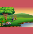 view of the beautiful park by the river with a mou vector image