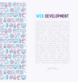 web development concept with thin line icons vector image vector image