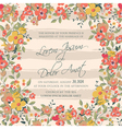 wedding invitation flowers and stripes pink vector image vector image