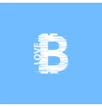 white bitcoin sign in glitch style on blue vector image vector image