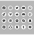 white black social media set icon 2019 vector image