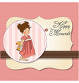 young girl going to bed with her favorite toy a vector image vector image