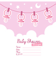 Pink Baby Shower Invitation with Pacifiers vector image