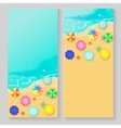 summer travel banners with beach umbrellas vector image