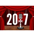 Happy New Year on the background of the stage with vector image