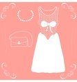 a wedding dress with shoes and handbag vector image