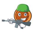 army baket pie character cartoon vector image vector image