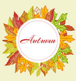 autumn leaves orange circle wreath with typography vector image vector image