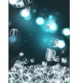 background with cubes of transparent ice highly vector image vector image