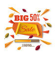 big sale banner with abstract leafs on white vector image