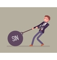 Businessman dragging a weight Sin on chain vector image vector image