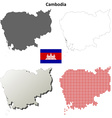 Cambodia outline map set vector image vector image