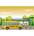 Children getting on school bus at bus stop vector image vector image