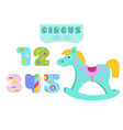 colorful numbers 1 2 3 4 5 and rocking horse vector image
