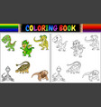 coloring book with dinosaur cartoon collection vector image vector image