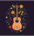 composition with mexican guitar and floral vector image