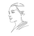 continuous one line drawing woman face abstract