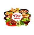 cuban national cuisine round banner vector image vector image