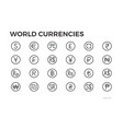currency icons dollar euro yuan and other vector image vector image
