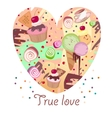 Cute heart from sweets Valentines day card vector image