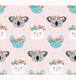 cute koala llama and mouse heads with flower vector image vector image