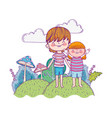 cute little girl and boy in the landscape vector image