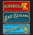 denmark island and territory grunge plates vector image