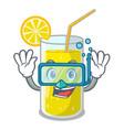 diving glass fresh lemon juice on mascot vector image