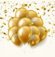 golden balloons with falling gold ribbons vector image