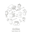 hand drawn coffee set ingredients vector image vector image