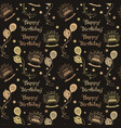 happy birthday pattern background with brown color vector image vector image