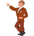 Happy cartoon man standing in brown suit vector image vector image