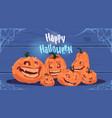 happy halloween party banner different pumpkins vector image vector image
