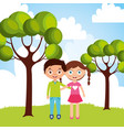 happy little boy and girl hugging friendship in vector image vector image