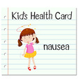 Health card with girl having nausea vector image vector image