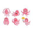 humanized pink octopuses set vector image vector image